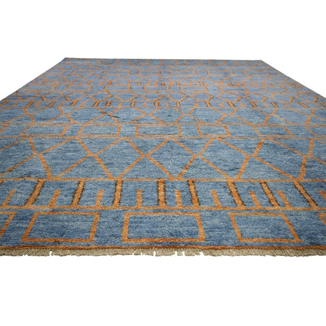Orange and Blue Moroccan Style Rug With Modern Design, 10'05 X 13'00 For Sale - Image 4 of 10