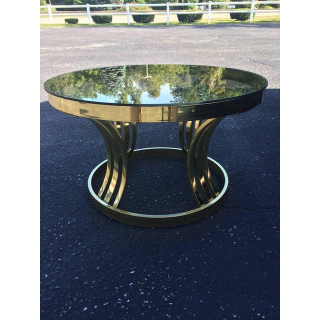 Milo Baughman Brass & Smoked Glass Round Coffee Table For Sale - Image 5 of 10