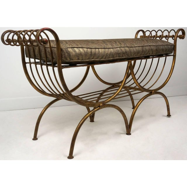 Hollywood Regency Hollywood Regency Gold Gilt Metal Bench With Tiger Cushion, Italian 1960s For Sale - Image 3 of 11