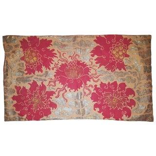 Tibetan Peonies Sateen Linen Pillow For Sale