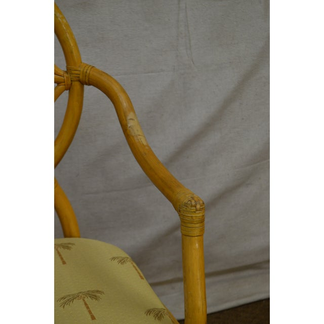 1980s McGuire Style Vintage Rattan Bamboo Spider Back Dining Chairs - Set of 8 For Sale - Image 5 of 13