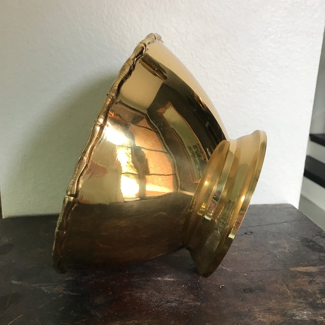 Traditional Vintage Solid Brass Bowl For Sale - Image 3 of 5