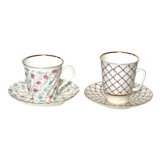 Russian Imperial Lomonosov Tea Cups and Saucers, Pair For Sale