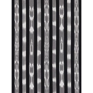 Sample, Scalamandre Jakarta Ikat Stripe, Charcoal Fabric For Sale
