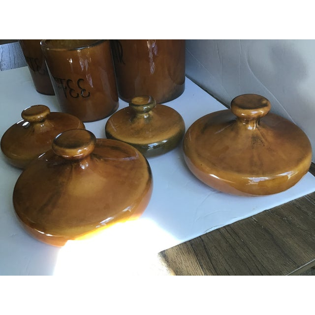Mid 20th Century Rustic Pottery Canister McCoy Flour Coffee Set - 4 Pieces For Sale - Image 5 of 9