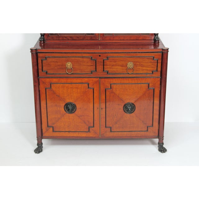 Period English Regency Secretary Cabinet With Ebonized Trim For Sale - Image 9 of 13