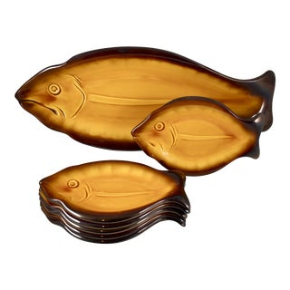 Mid-Century Vallauris French Provençal Faïence Fish Service, S/7 For Sale