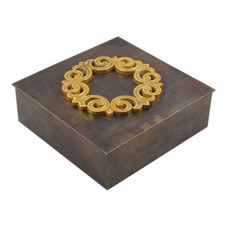 French 1940s Brass Cigar Box For Sale