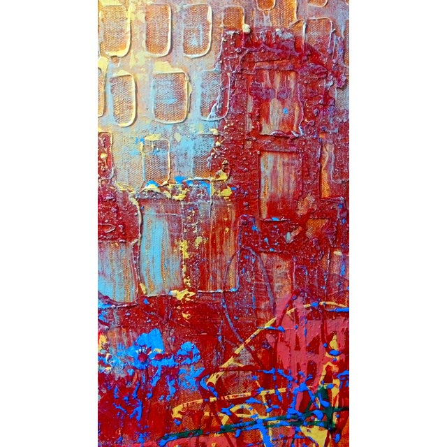 Abstract Expression Drip Action Cityscape Oil Painting - Image 6 of 9