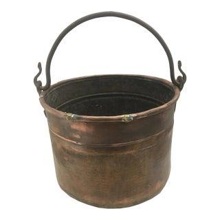 Hand-Hammered Vintage Copper Pail For Sale
