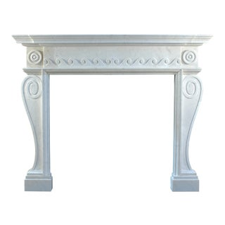 19th Century English Marble Mantel Carved in Solid Statuary Marble For Sale