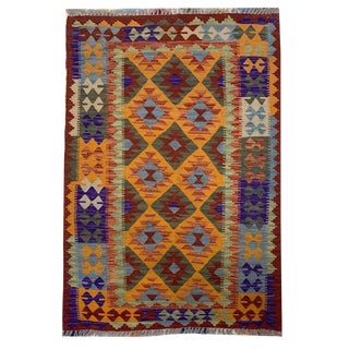 Southwastern Style Multicolored Flatwoven Kilim Rug From Pakistan - 3' 4 X 5' 2 For Sale