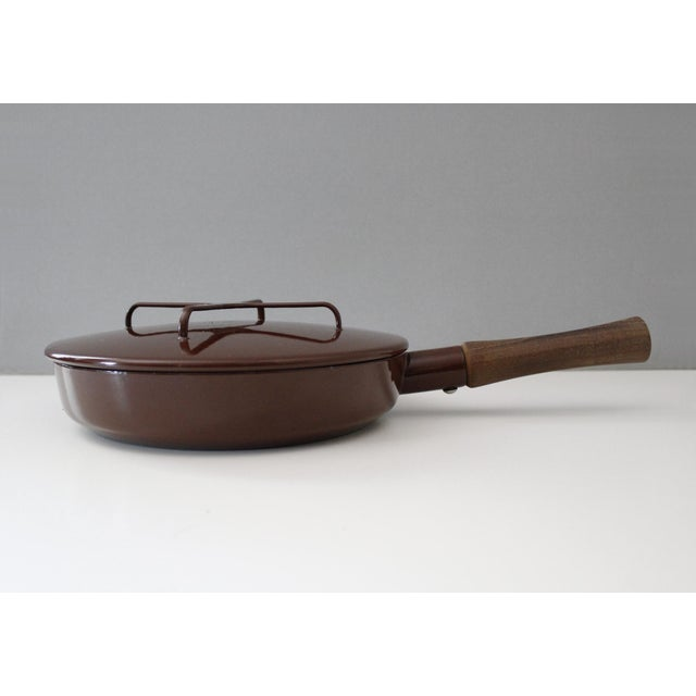 Large Dansk Kobenstyle brown enamel skillet/frying pan with lid. Designed by Jens Quistgaard in the 1950s. Marked Dansk...