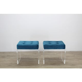 Modern Teal Waterfall Acrylic & Velvet Benches- a Pair Preview