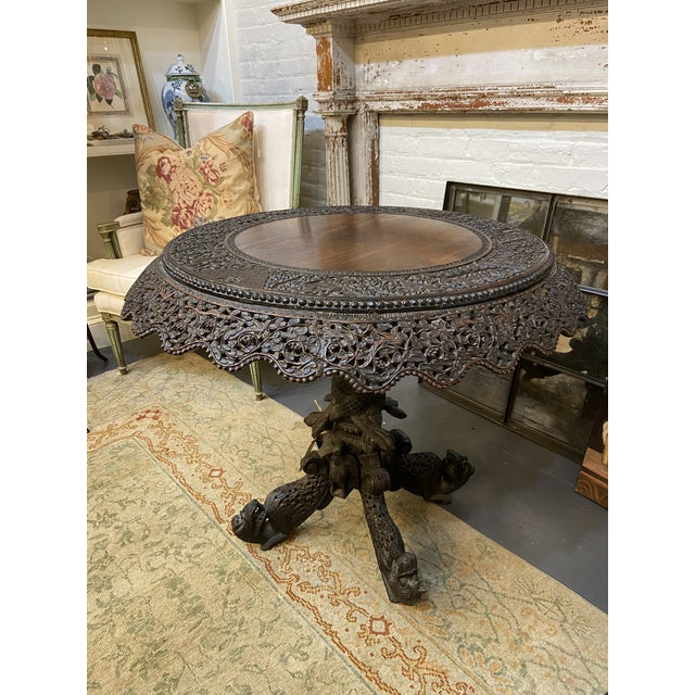 19th Century Burmese Round Center Table For Sale - Image 9 of 10