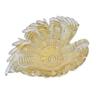 Vintage 1950s Murano Glass Gold Bowl Barovier & Toso - Zebrati Technique Italy For Sale