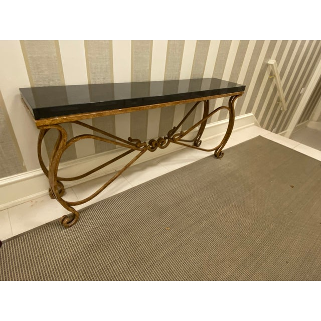 Neoclassical Black Granite and Iron Console or Sofa Table For Sale - Image 10 of 10