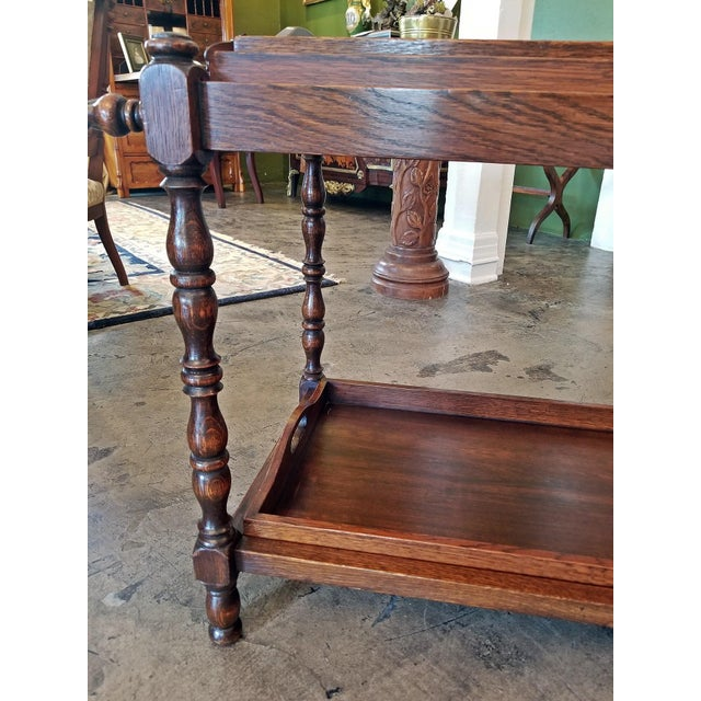 REALLY CUTE 19th Century, oak, provincial Butler's Tray Stand with 3 Butler's Trays. 2 on top and 1 on bottom and all...