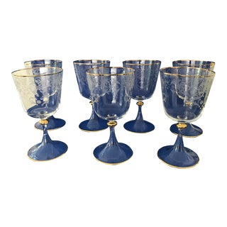 1970s Murano Venetian Salviati Style Crystal Wine Goblets, Gold Leaf Rim and Etched - Set of 7 For Sale