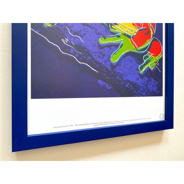 """Wood Andy Warhol Estate Vintage 1989 Endangered Species Framed Lithograph Print """" Pine Barrens Tree Frog """" 1983 For Sale - Image 7 of 13"""