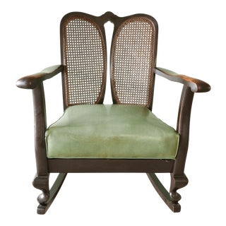 Antique Black Cane Back Rocker For Sale