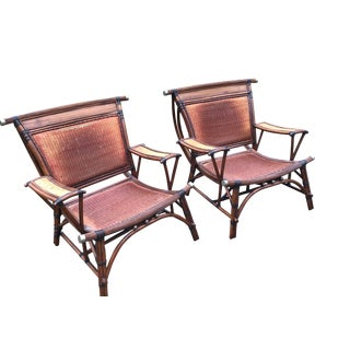 Marge Carson Rattan Bamboo Asian Arm Chairs- a Pair Last Markdown For Sale