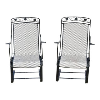 Vintage Mid Century oodard Wrought Iron Patio Bouncer Lounge Arm Chairs- A Pair For Sale