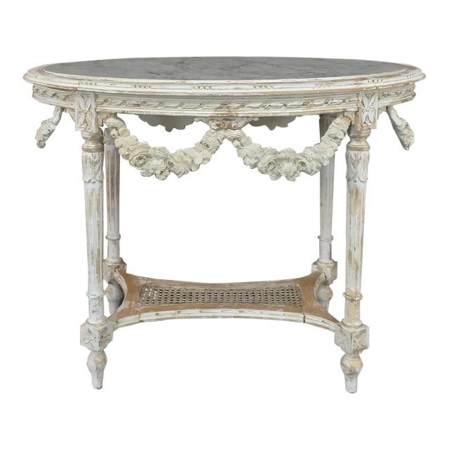 19th Century French Louis XVI Marble Top Table For Sale