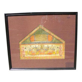 Vintage Framed Pichwai Style Painting on Cloth For Sale