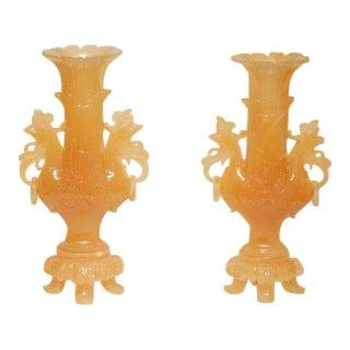Nephrite Jade Vases - a Pair