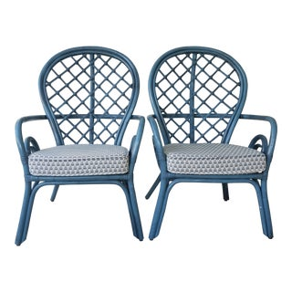Blue Rattan Side Chairs - A Pair
