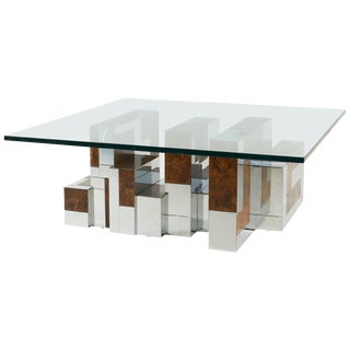 Paul Evans Cityscape Coffee Table, Burl Wood and Chrome For Sale