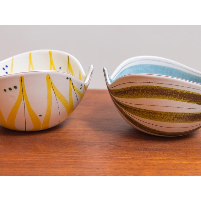 Blue 1950s Stig Lindberg for Gustavsberg Faience Leaf Bowls - a Pair For Sale - Image 8 of 11
