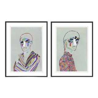 Portrait Diptych by Robson Stannard in Black Frame, Medium Art Prints For Sale