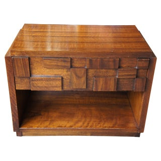 1970s Brutalist Lane Paul Evans Walnut Nightstand For Sale