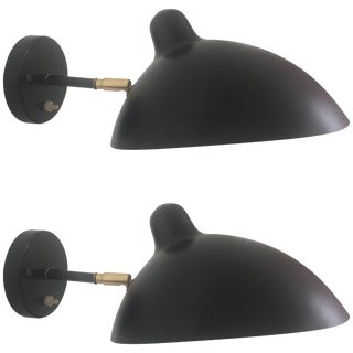 Pair of French-Style Vintage Black Sconces For Sale