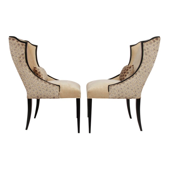 Contemporary French Art Deco Host Wingback Dining Chairs With Lap Pillows - a Pair For Sale