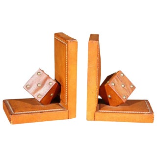 Pair of French Leather Dice Bookends For Sale