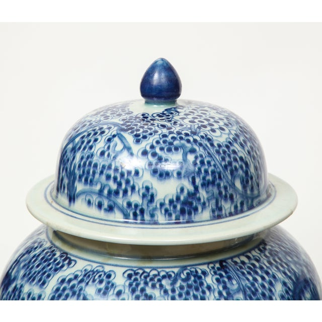 Chinese Blue and White Jars with Lids - A Pair For Sale - Image 11 of 13
