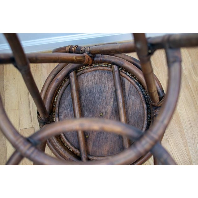 Mid 20th Century Vintage Mid-Century Twisted Wood Rattan Stools - A Pair For Sale - Image 5 of 10
