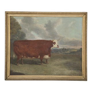 """Oil on Board of Prize Cow Signed """"Whitford 1867"""" For Sale"""