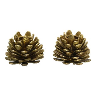 Brass Holiday Acorn Candle Holders For Sale