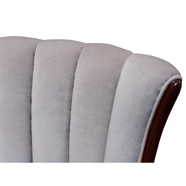 Mid-Century Mahogany Channel Shell Back Lavender-Grey Velvet Chairs, Matching Pair For Sale In Los Angeles - Image 6 of 8