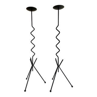 Postmodern Tall Iron Zig Zag Candlesticks Pair For Sale