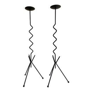 Postmodern Tall Iron Zig Zag Candlesticks Pair For Sale