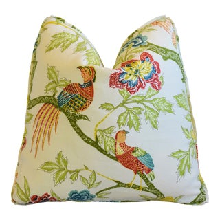 "Schumacher Chinoiserie Linen & Bird Feather/Down Pillow 22"" Square For Sale"