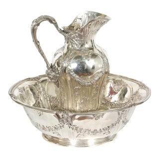 Early 20th Century Art Nouveau French Tetard Sterling Wash Basin / Jug For Sale