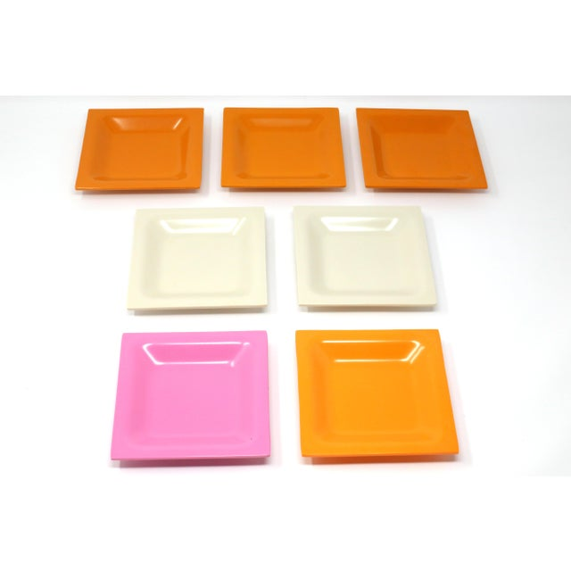 Vintage Square Melamine Dishes - Set of 7 For Sale - Image 4 of 11