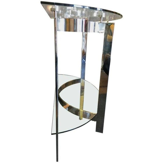Bauhaus 1970s Contemporary Two-Tier Demilune Console For Sale - Image 3 of 6