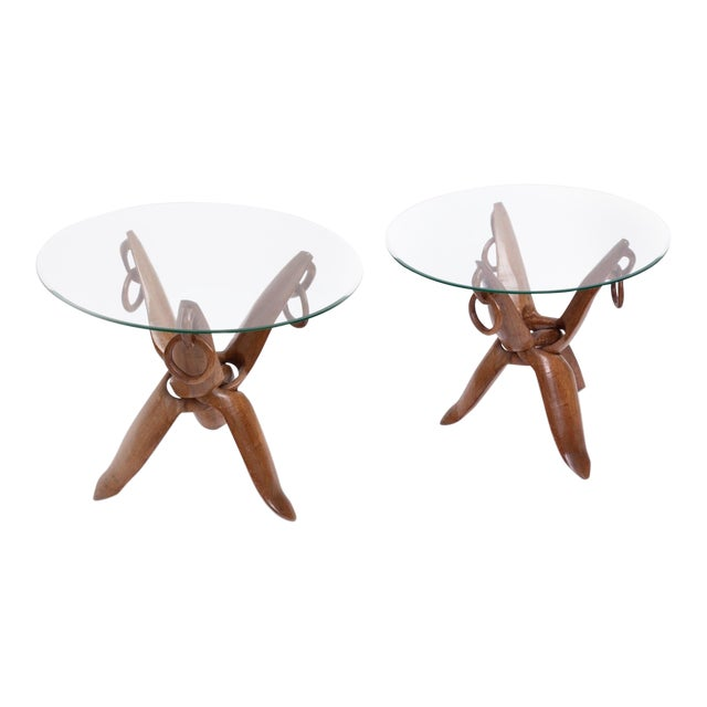 Vintage Mid-Century French Carved Side Tables - A Pair For Sale